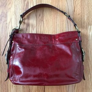 Coach Zoe red patent leather hobo